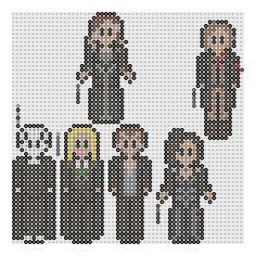 Harry Potter perler patterns by geek-2perlerbeads : Lord Voldemort, Lucius Malfoy, Fenrir Greyback, Bellatrix Lestrange, Narcissa Malfoy, and Scabior.
