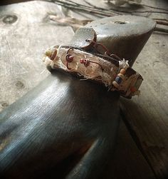Rustic leather wrap bracelet with smoky quartz kyanite by quisnam, $45.00