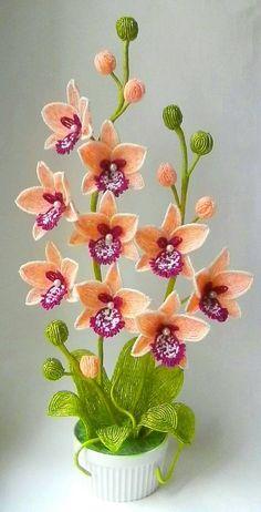French Beaded Flowers, Beads, Plants, Shakira, Beadwork, Orange, Crochet Flowers, Quilling, Tejidos