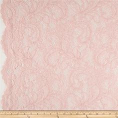 Amelia Stretch Lace Soft Pink from @fabricdotcom  This beautiful lace fabric is perfect for tops, overlays, accents and lingerie. It features a slight stretch and scalloped borders along both selvedges.