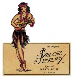 Sailor Jerry rum label - hula girl