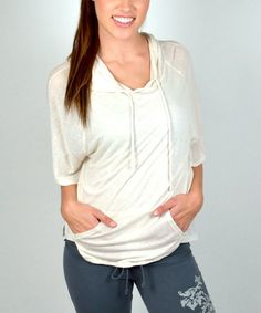 Loving this Oatmeal Linen-Blend Hoodie on #zulily! #zulilyfinds
