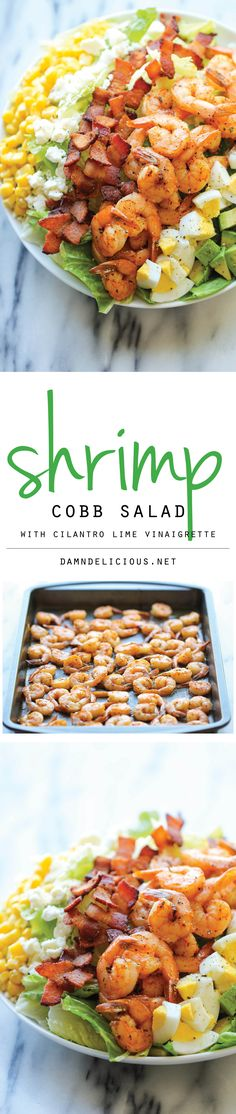 Shrimp Cobb Salad with Cilantro Lime Vinaigrette - A light, filling salad loaded with roasted shrimp, bacon bits, and avocado in a tangy, refreshing vinaigrette! Seafood Recipes, Cooking Recipes, Healthy Recipes, Recipes Dinner, Pasta Recipes, Crockpot Recipes, Soup Recipes, Chicken Recipes, Vegetarian Recipes