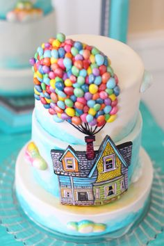 - UP themed cake. A billion tiny hand made fondant balloons. Hand painted house on modeling chocolate. Small 3 tier cake