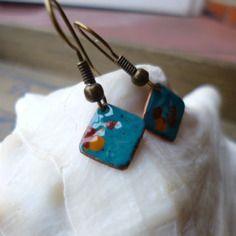 Boucles d'oreilles rustique - émaillées sur cuivre