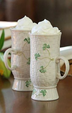 cute coffee mugs Irish eyes aren't smiling in the wee mornin' hours? Serve up a cup of Irish coffee in these Belleek Irish Coffee mugs and celebrate the morn' with an Irish jig. Chocolate Cafe, Chocolate Lovers, Irish Pottery, Irish Jig, Belleek China, Belleek Pottery, Irish Coffee Mugs, Coffee Art, Coffee Cups