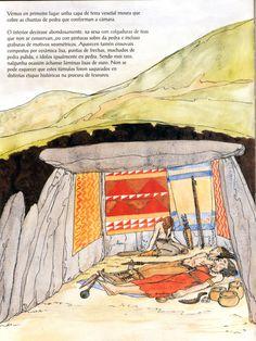 Figuração ideal (com Sutti) da câmera funerária dolmênica do grande túmulo ou mamoa do Monte do Seixo - Monte de Nenos (Narón). Pintura de Eva Merlán Bollaín asesorada por Andrés Pena, para Narón, Uma História Ilustrada na Terra de Trasancos (Concello de Narón)