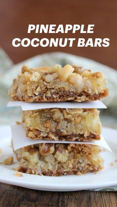 13 Desserts, Coconut Desserts, Coconut Bars, Coconut Recipes, Delicious Desserts, Vegan Recipes, Yummy Food, Bar Recipes, Healthy Food