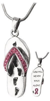Never Walk Alone Pink Ribbon Flip Flop Sterling Necklace at The Breast Cancer Site