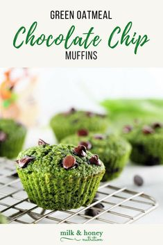 These muffins are packed with veggie goodness, protein, and chocolate! What could be better? They're gluten-free, low in sugar, and yummy! Low Sugar Recipes, No Sugar Foods, Baking Recipes, Snack Recipes, Chocolate Chip Muffins, Chocolate Chip Oatmeal, Healthy Comfort Food, Healthy Snacks, Healthy Eating