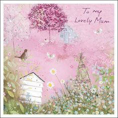 Amongst the blooms - #MothersDay card by Lucy Grossmith.  The greeting inside reads Happy Mother's Day.