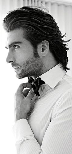Long Slicked Back Men's Hairstyle