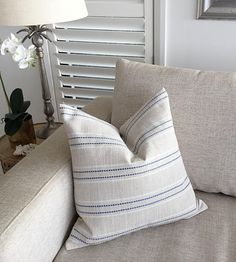 Striped Blue and Natural Linen Pillows Blue Linen Cushion | Etsy Nautical Cushion Covers, Nautical Cushions, Striped Cushions, Scatter Cushions, Blue Pillows, Toss Pillows, Linen Pillows, Plaid Fabric, Coastal Style