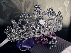 Bridal Rhinestone Tiara Crown Silver Tone Vintage Inspired Princess Queen Pageant Prom Headband