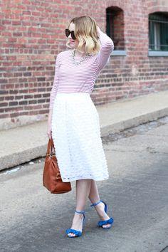 Pink Stripes, Midi Skirt and Blue Sandals For Spring - via @poorlilitgirl