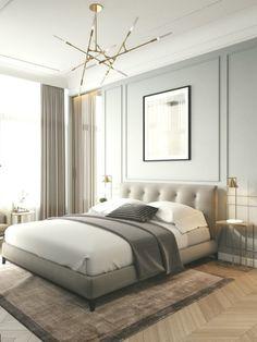 Moderne klassiekers in het interieur op Behance - Landhausstil Dekor Home, Contemporary Interior Design, Apartment Interior, Luxurious Bedrooms, Bedroom Trends, Modern Bedroom, Interior Design, Luxury Bedroom Master, Classic Bedroom