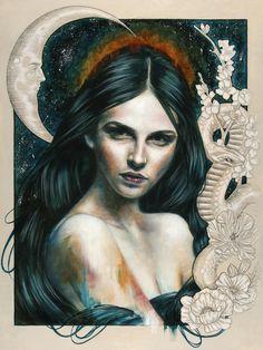 "Illustrator & Artist: Wendy Ortiz ""Eyes Like a Flame"" Oil on Wood 12"" x 16"" 2014"
