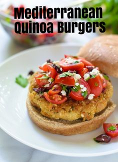 Delicious, easy to make, vegetarian Mediterranean Quinoa Burgers with chickpeas, sundried tomatoes and whole grains from @WellPlated
