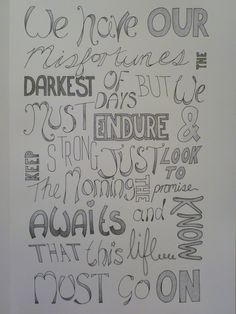 My very own typography design using AlterBridge lyrics. Created on A3 sketchpad with pencil and black Bic pen
