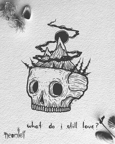 """"""" It's a funny feeling when the things you used to love fade away . Original Available on Yee Ol' Shop ☠️ (Sold) . Ink Illustrations, Illustration Art, Desenhos Halloween, Famous Tattoo Artists, Skeleton Art, Dark Art Drawings, Shadow Art, Alien Art, Gothic Art"""