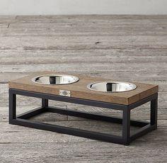 Oak & Iron Pet Bowl Set - Medium Source by Dog Food Bowls, Pet Bowls, Dog Bowl Stand, Dog Furniture, Furniture Stores, Wood Dog, Dog Feeder, Dog Crate, Dog Houses
