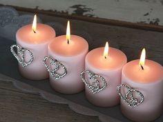 Srdíčka s kamínky pro ozdobení adventních svíček; Bella Rose