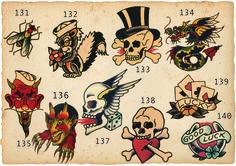 Sailor+Jerry+Flash+Gallery Traditional Sailor Tattoos, Traditional Tattoo Old School, Traditional Tattoo Art, Vintage Nautical Tattoo, Sailor Jerry Tattoo Flash, Americana Tattoo, Time Tattoos, Sleeve Tattoos, Tatoos