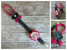 Crochet Baby Ribbon Flower Pacifier Clip Holder  $8