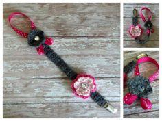 Crochet Baby Ribbon Flower Pacifier Clip Holder  $8