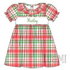 Preorder : Farmhouse Plaid Name Dress - EST SHIPS NOV 2021 Merry Christmas Baby, Smocking, Cheer Skirts, Farmhouse, Plaid, Bows, Classic, Cart, Ships