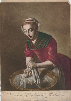 Image gallery: Domestick Employment / Washing. A young woman shown three-quarters length to left, wearing a frilled cap, gown with a patterned fichu and apron, washing linen in a bucket of water; after Mercier; republished state. Hand-coloured mezzotint. 1750s - 1775