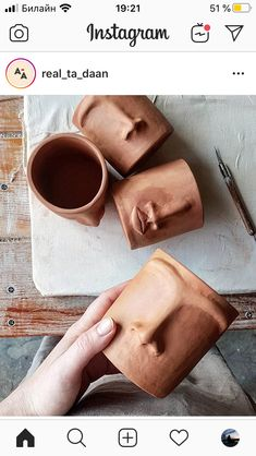 If you had to choose one object to describe your personality what would it be? Diy Clay, Clay Crafts, Diy And Crafts, Arts And Crafts, Pottery Mugs, Ceramic Pottery, Pottery Art, Ceramics Projects, Clay Projects