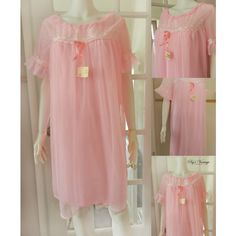 Vintage Pink Queentex Nightgown, Vintage Chiffon Nightgown, Romantic,... ($70) ❤ liked on Polyvore featuring intimates, sleepwear, nightgowns, vintage lingerie, lingerie nightgown, vintage sleepwear, pink lingerie and vintage nightdress
