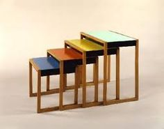 artist: Josef Albers artwork: nesting tables date: additional: Designed in minimalist style and crafted of solid oak and lacquered acrylic glass, the set is an example of the application of Bauhaus colour principles taught in the preliminary course. Art Bauhaus, Bauhaus Colors, Design Bauhaus, Josef Albers, Anni Albers, Art Nouveau, Art Deco, French Furniture, Modern Furniture
