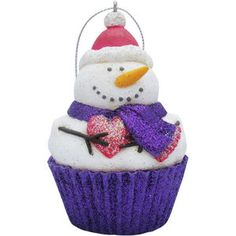 Sandicast Frosty Cupcake Christmas Tree Ornament - very cute as it combines both a snowman and a cupcake! Unique Christmas Ornaments, Snowman Ornaments, Christmas Decorations, Holiday Decor, Snowmen, Snowman Cupcakes, Christmas Cupcakes, Purple Christmas, Beautiful Christmas