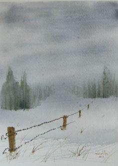 original landscape watercolor by foggyholler on Etsy, $45.00