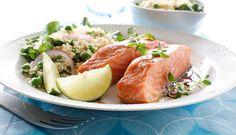 Sitrus, honning og dijonsennep gir ovnsbakt laks en frisk og god smak. #fisk #oppskrift