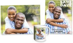 Personalized photo save the date foil guest book, puzzle and mug