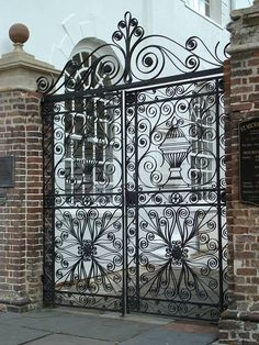 St. Michael's gate -Charleston-Imported from England 1792- Love seeing how Phillip Simmons was influenced in his style.