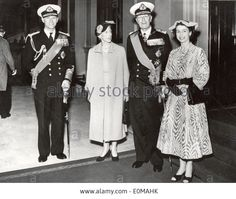Queen Elizabeth II with Prince Philip, King Gustaf VI Adolf of Sweden and his wife Queen Louise