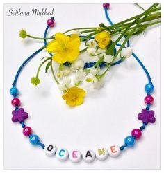 """Collier (réversible) """"Oceane"""". Collier homme, femme, enfant avec prénom ou message (multicolore) : Collier par perles-et-couronnes"""