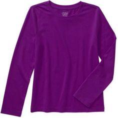 Faded Glory Girls' Long Sleeve Crew Neck Tee, Size: 14/16, Purple