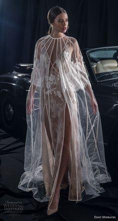 dany mizrachi fall 2018 bridal sleeveless deep v neck full embellishment double slit skirt elegant sexy sheath wedding dress with cape v back sweep train (7) mv