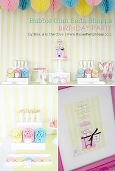bubble gum soda shoppe birthday party via Kara's Party Ideas | KarasPartyIdeas.com