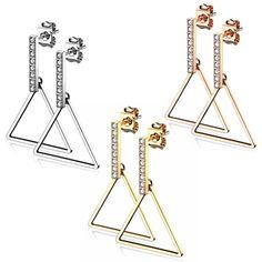Dreieck Ohrringe hängend aus Edelstahl ✓ Top Auswahl an Ohrschmuck ✓ schneller & günstiger Versand ✓ seit 2003 online ✓ ab 20.- EUR versandkostenfrei Stainless Steel Earrings, Stainless Steel Paint, Earrings Online, Triangles, Ear Jewelry, Stud Earring, Silver