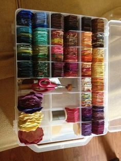 Looking for a way to sort all those hexies you've been making lately?  TQS member QuilterLynn gives a nod to Libby Lehman and organizes (by color) her little gems and notions in a Superior Thread organizer.