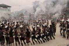 Community bonfire at the culmination of the Hornbill Festival of Nagaland, Kohima district, Nagaland 2008