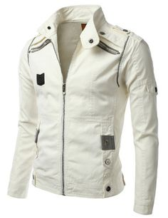 iDarbi Mens Zip Up Racer Jacket with Fake Pockets on Ches...