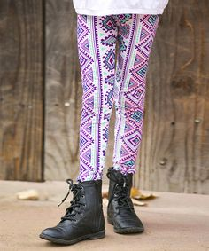 Loving this Pink & Green Geometric Leggings - Girls on #zulily! #zulilyfinds