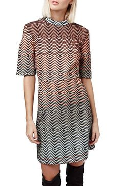 Topshop Metallic Chevron Dress